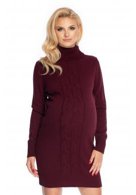 Svetrové tehotenské šaty s rolákom v bordovej farbe