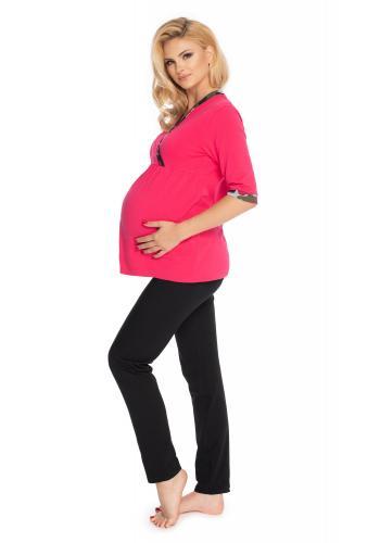 Ružové tehotenské a dojčiace pyžamo s legínami s brušným panelom