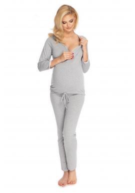 Tehotenské a dojčiace pyžamo s nohavicami s brušným panelom v sivej farbe