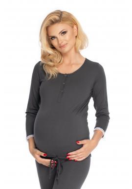 Tmavosivé tehotenské a dojčiace pyžamo s nohavicami s brušným panelom