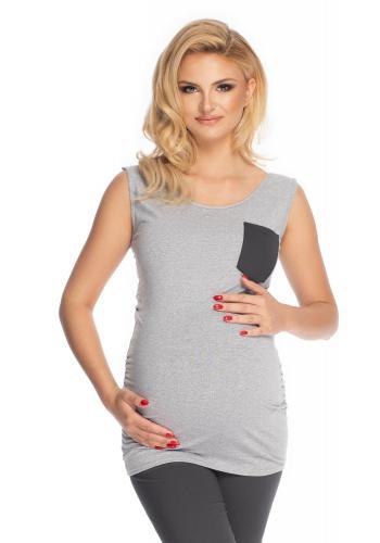 Tehotenské a dojčiace pyžamo s 3/4 nohavicami s brušným panelom a tričkom bez rukávov v sivej farbe