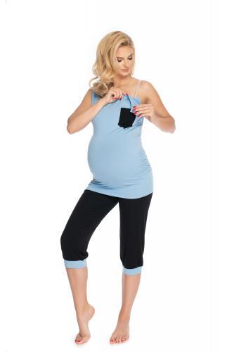 Modré tehotenské a dojčiace pyžamo s 3/4 nohavicami s brušným panelom a tričkom bez rukávov