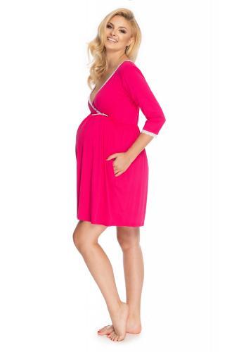 Dámska ružová tehotenská a dojčiaca nočná košeľa s 3/4 rukávom a ozdobnou čipkou