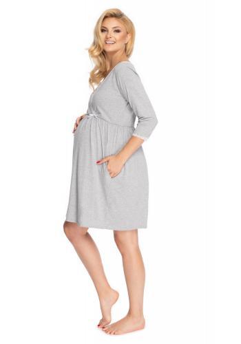 Svetlosivá tehotenská a dojčiaca nočná košeľa s 3/4 rukávom a ozdobnou čipkou