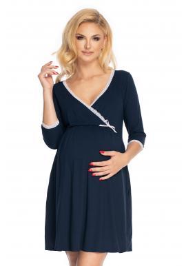 Tehotenská a dojčiaca tmavomodrá nočná košeľa s 3/4 rukávom a ozdobnou čipkou