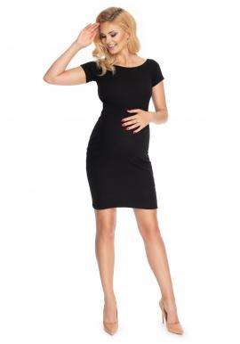 Elegantné čierne tehotenské šaty s krátkym rukávom