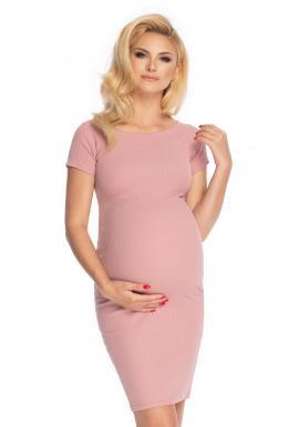 Tehotenské elegantné šaty s krátkym rukávom v ružovej farbe