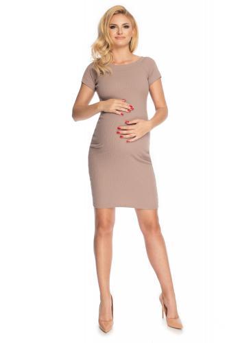 Cappuccinové elegantné tehotenské šaty s krátkym rukávom