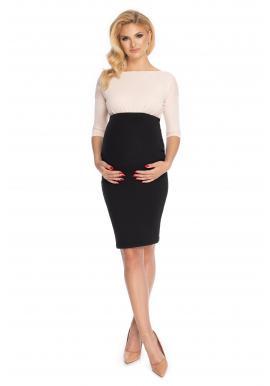 Čierna elegantná tehotenská sukňa klasického strihu