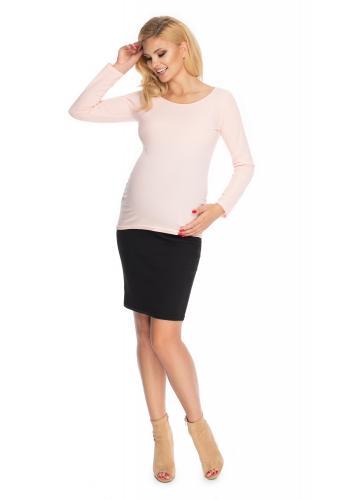 Klasická tehotenská blúzka s dlhým rukávom v púdrovej farbe