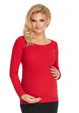 Dámska tehotenská blúzka s dlhým rukávom červenej farby