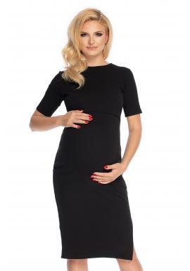 Čierne bavlnené tehotenské a dojčiace šaty s rázporkom