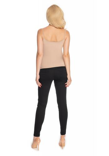 Dámske tehotenské nohavice úzkeho strihu v čiernej farbe
