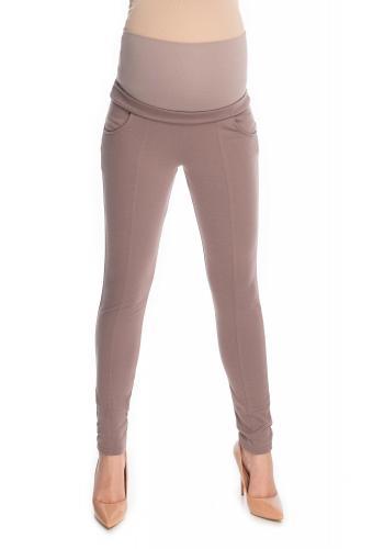 Cappuccinové tehotenské nohavice úzkeho strihu s brušným panelom