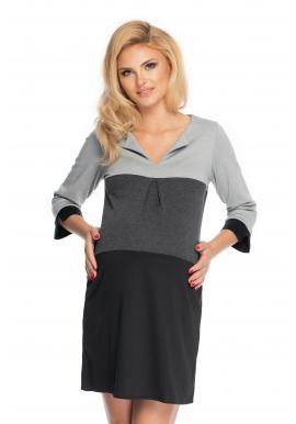 Materské voľné tunikové šaty s V výstrihom a 3/4 rukávom v čiernej farbe