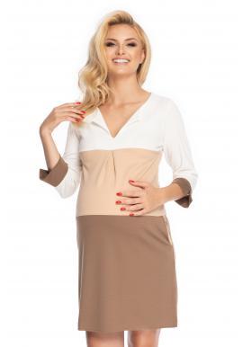 Voľné tehotenské tunikové šaty s V výstrihom a 3/4 rukávom cappuccinovej farby
