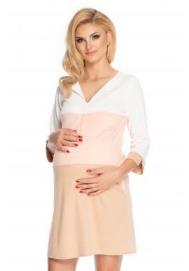 Pásikavé ružové tehotenské šaty voľného strihu s V výstrihom a 3/4 rukávom