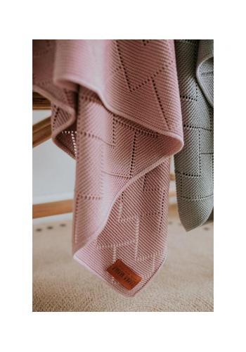 100% bambuová pletená deka v ružovej farbe