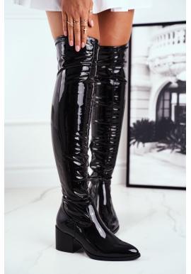 Dámske čierne latexové topánky na opätku