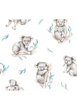 Detské bambusové prestieradlo na oválny matrac do kočíka s motívom koaly
