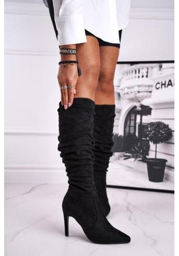 Semišové čierne topánky na výsokom podpätku