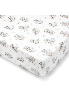Detské bavlnené prestieradlo s gumkou na posteľ s motívom koaly