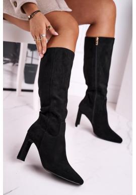 Dámske čižmy na podpätku po kolená v čiernej farbe