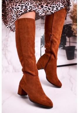 Dámske semišové topánky v hnedej farbe