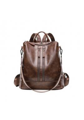 Voskovaný elegantný dámsky ruksak hnedej farby