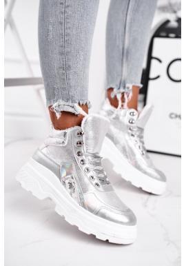 Dámske topánky v striebornej farbe