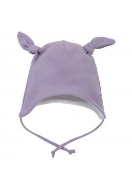 Dievčenská fialová čiapka s uzlíkmi na viazanie