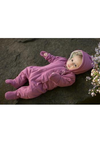 Dievčenský overal fialovej farby s kapucňou