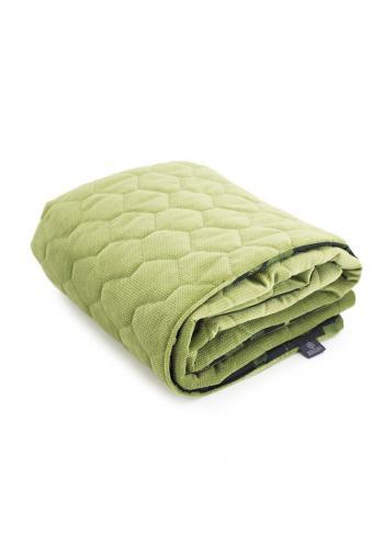 Detská zamatová tenká deka čierno-zelenej farby s bylinkovým motívom