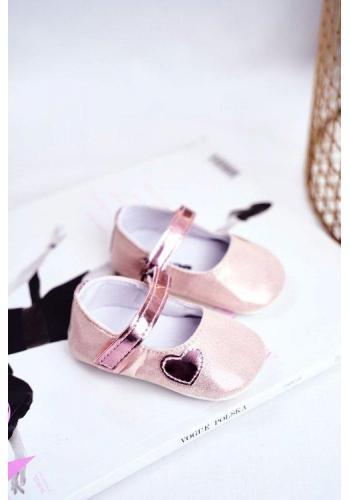 Módne dievčenské balerínky na suchý zips ružovej farby