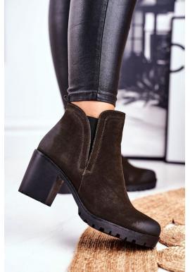 Dámske topánky na podpätku v khaki farbe