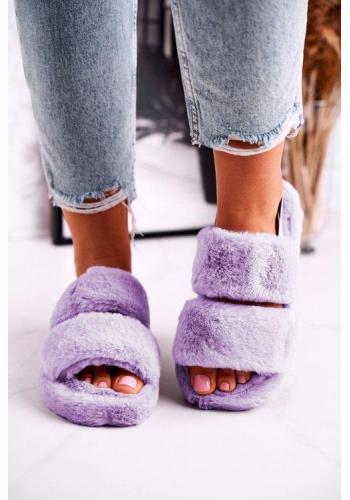Fialové papuče na platforme s kožušinou pre dámy
