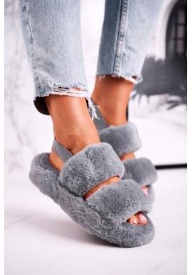 Dámske papuče v sivej farbe s kožušinou