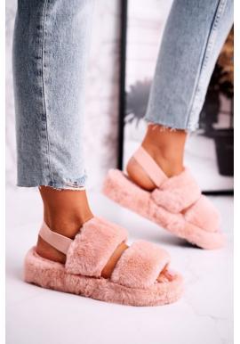 Štýlové papuče v broskyňovej farbe s kožušinou
