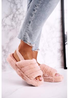 Oranžové papuče s kožušinou pre dámy