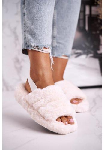 Štýlové papuče v béžovej farbe s kožušinou