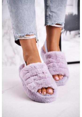 Trendy fialové papuče s kožušinou pre dámy