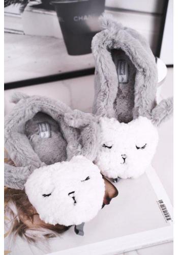 Dámske kožušinové papuče s ovcou v sivej farbe