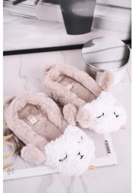 Kožušinové dámske papuče béžovej farby s ovcou