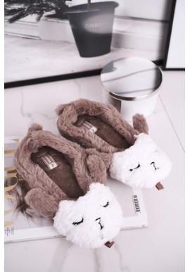 Dámske hnedé papuče zdobené ovcou