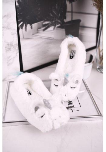 Kožušinové dámske papuče bielej farby s jednorožcom