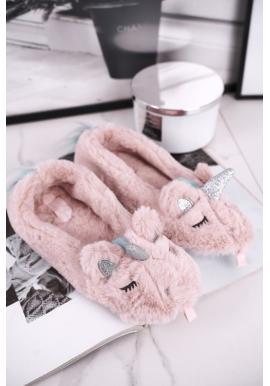 Dámske ružové papuče zdobené jednorožcom