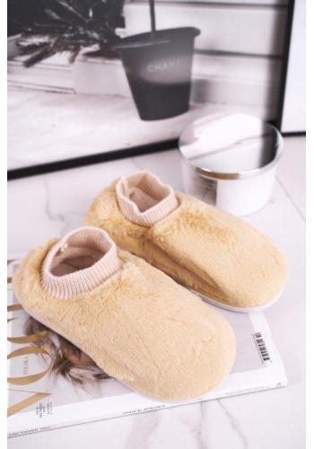 Žlté kožušinové papuče s imitáciou ponožky