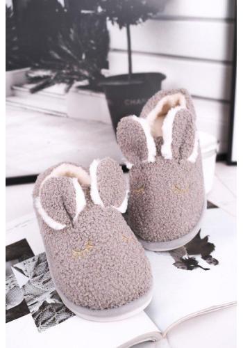 Dámske kožušinové papuče s ušami v sivej farbe