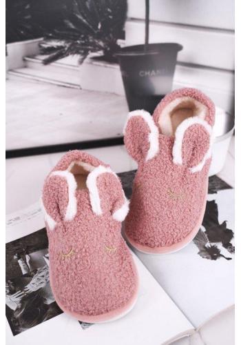 Kožušinové dámske papuče ružovej farby s ušami