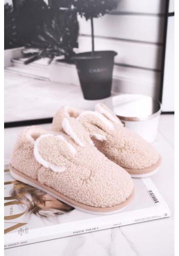 Béžové papuče s ušami pre dámy